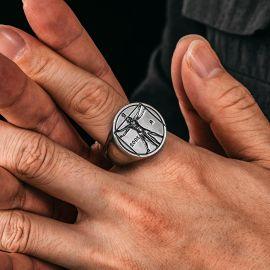 Vitruvian Man Stainless Steel Ring
