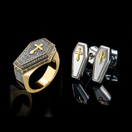 Cross Coffin Ring and Stud Earrings Set