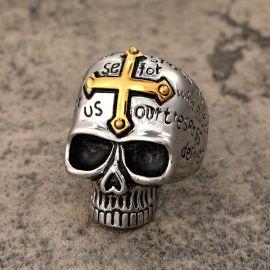 Vintage Golden Cross Stainless Steel Skull Ring