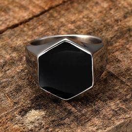 Hexagonal Stainless Steel Silver Ring