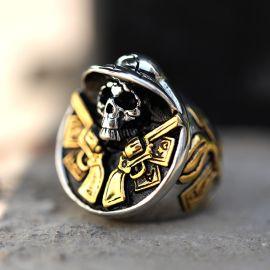 Double Golden Gun Hat Skull Creative Stainless Steel Ring