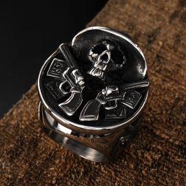 Double Gun Hat Skull Creative Stainless Steel Ring
