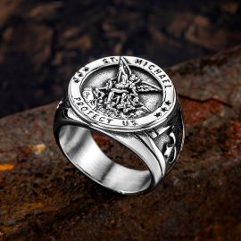 Archangel Saint Michael Stainless Steel Ring