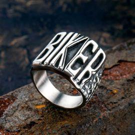 Letters Biker Stainless Steel Ring