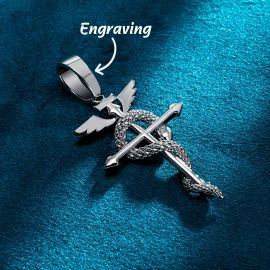 Detached Wings Cross with Snake Greek Caduceus Pendant