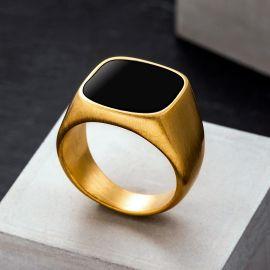 Onyx Golden Classical Men's Stainless Steel Ring