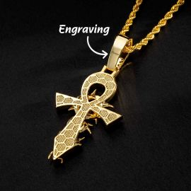 Iced Thorns Cross Pendant in Gold