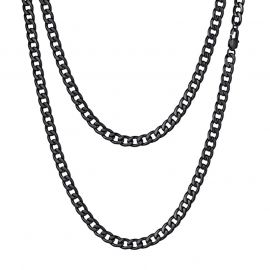 5mm Stainless Steel Cuban Chain in Black Gold