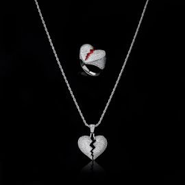 Iced Broken Heart Ring and Pendant Set in White Gold