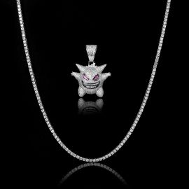 3mm Tennis Chain + Iced Gengar Pendant Set in White Gold