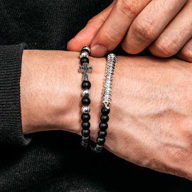 2Pcs Black Frosted & Silver Copper Beads Cross Bracelet