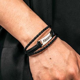 Men's Personalized Engraved Bracelet in Braid Leather and Steel