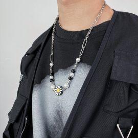Black Hip Hop Daisy Paper Clip Pearl Necklace