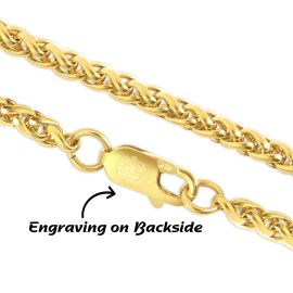 3mm Franco Solid 925 Sterling Silver Chain in Gold