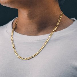 5mm Figaro Solid 925 Sterling Silver Chain in Gold