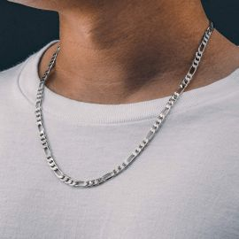 5mm Figaro Solid 925 Sterling Silver Chain