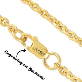 3mm Cable Solid 925 Sterling Silver Chain in Gold