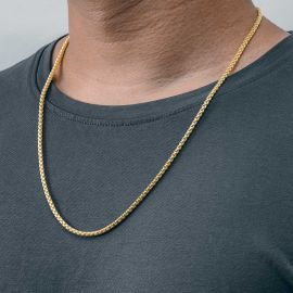 3mm Round Box Solid 925 Sterling Silver Chain in Gold