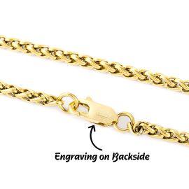 3mm Franco Solid 925 Sterling Silver Bracelet in Gold