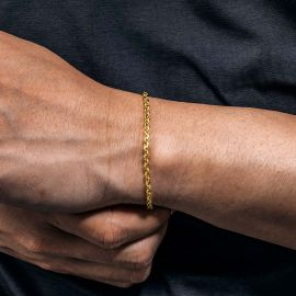 3mm Cable Solid 925 Sterling Silver Bracelet in Gold