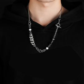 Stainless Steel Patchwork Cuban Chain Necklace