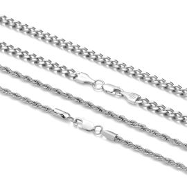 5mm Cuban + 3mm Rope Solid 925 Sterling Silver Chain Set