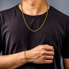 3mm Franco Solid 925 Sterling Silver Chain Set in Gold