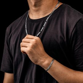 5mm Figaro Solid 925 Sterling Silver Chain Set
