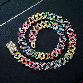 11mm Multi-Color Half-Iced Cuban Chain