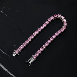 5mm Pink Stones Tennis 18K White Gold Bracelet