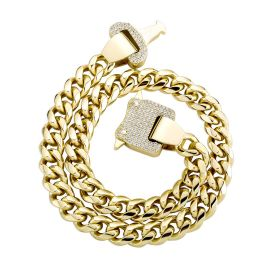 Iced Heavy Buckle 12mm Cuban Link Chain in Gold
