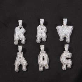 Custom Iced Drip Letters Name Pendant in White Gold
