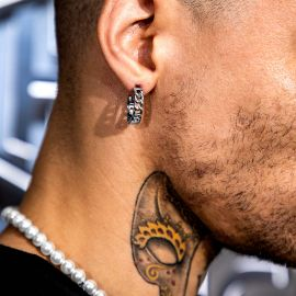 Cuban Hoop Earrings in White Gold