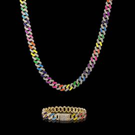 11mm Multi-Color Half-Iced Cuban Chain and Bracelet Set