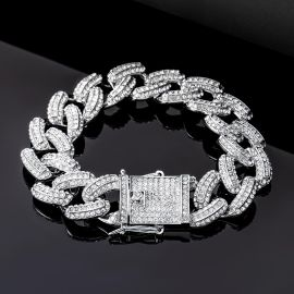 20mm Iced Miami Cuban Bracelet in White Gold