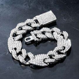 16mm G-link Cuban Bracelet in White Gold