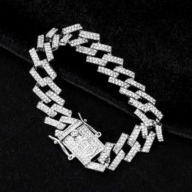 14mm Iced Prong Cuban Bracelet in White Gold