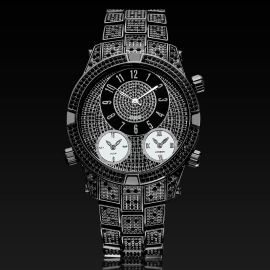 Micro Paved Arabic Numerals Men's Watch in Black Gold