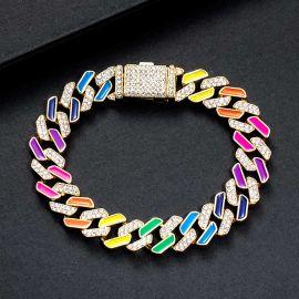 11mm Multi-Color Half-Iced Cuban Bracelet