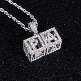Custom Baby Block Hollow Letters Pendant in White Gold