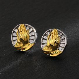 Two Tone Praying Hands Stud Earrings