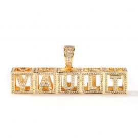 Custom Baby Block Hollow Letters Pendant in Gold