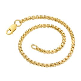 3mm Round Box Solid 925 Sterling Silver Bracelet in Gold