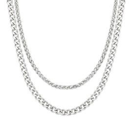 5mm Cuban + 3mm Franco Solid 925 Sterling Silver Chain Set
