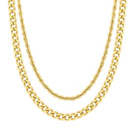 5mm Cuban + 3mm Rope Solid 925 Sterling Silver Chain Set in Gold