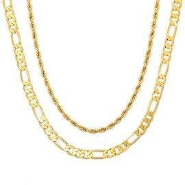 5mm Figaro + 3mm Rope Solid 925 Sterling Silver Chain Set in Gold