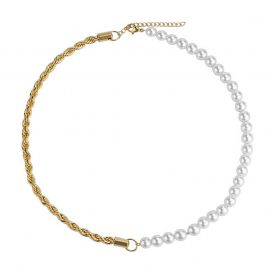 Half Pearl and Half Rope Chain in Gold