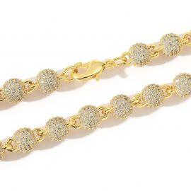 8mm Iced Beads Bracelet in Gold