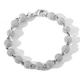 8mm Iced Beads Bracelet in White Gold