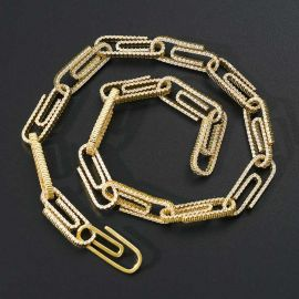 Iced Paper Clip Chain in Gold